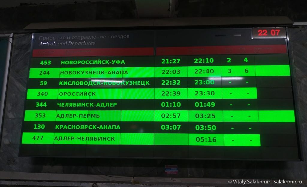 Табло на вокзале в Саратове 2020