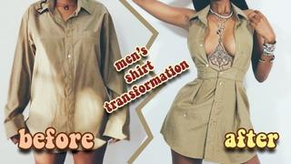 Thrift Flip: Male Button Down Shirt to Halter Dress / DIY Transformation