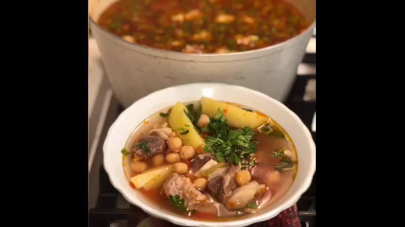 Суп с нутом (ингредиенты указаны в описании видео)