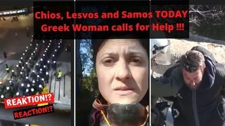 Greek Woman calls for Help Police and protesters clash on Greek islands 25.02 Greece