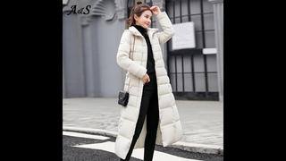 Женское длинное пуховое пальто с меховым воротником, зимнее пуховое пальто с капюшоном, зимняя куртка большого размера