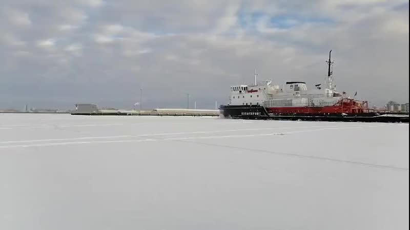 Финский залив Рыбаки бегут от ледокола