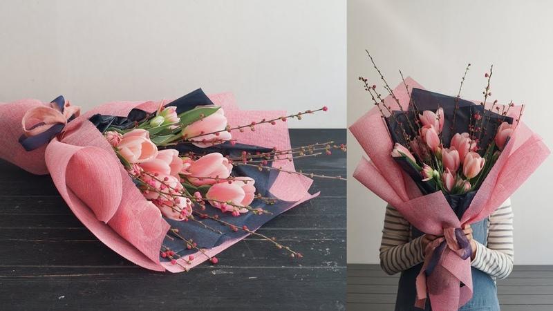 [꽃수업] 튤립 꽃다발 [Flower Lesson] Tulip hand-tied bouquet