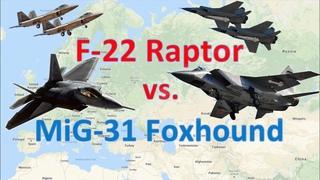 America's F-22 Raptor vs. Russia's MiG-31 Foxhound: Elite Heavyweights Clash for Superiority