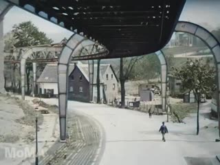 1902 film of the Wuppertal Suspended Railway in Germany - colorized and upscaled to 4K