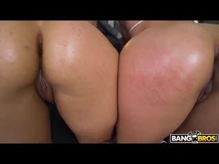 Трахает 2 сочных подруг с толстыми попами, ЖМЖ sex POV milf girl latin bubble ass butt booty sex porn tit HD cum (Hot&Horny)