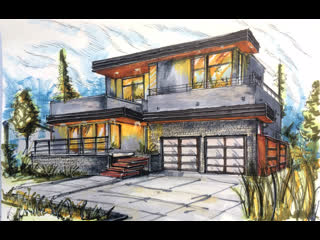Эскиз дома в стиле модерн. Architectural sketch