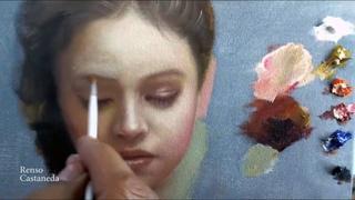 Pintando retrato alla prima, paleta de colores primarios