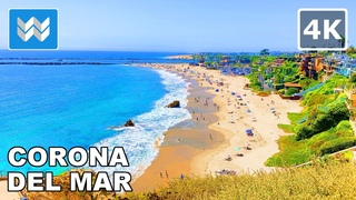 Corona Del Mar in Newport Beach, Orange County, California USA 2020 Scenic Walking Tour 🎧【4K】