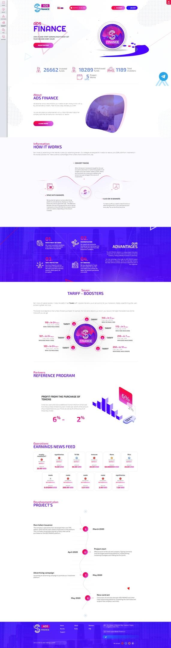 Скрипт инвестиционного проекта ADS-FINANCE