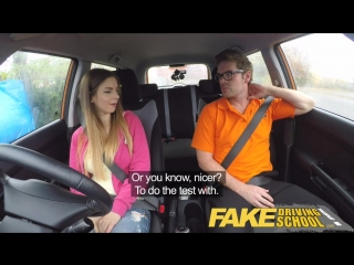 Fake Driving School full scene - Hot Italian learner with big natural tits