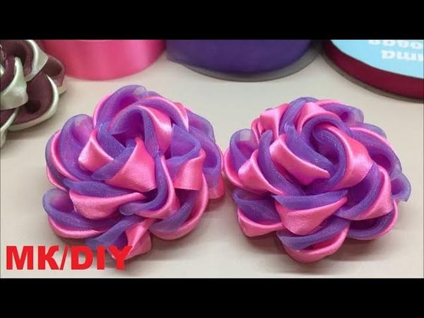 Цветы из органзы и атласной ленты тёмно розового и лавандового цвета