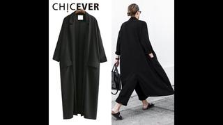 Chicever 2020 летние свободные женские пальто с рукавом три четверти размера плюс, черное солнцезащитное пальто для женщин,