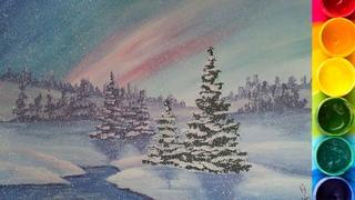Пошаговый урок по рисованию Зимнего пейзажа гуашью