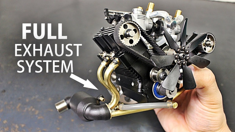 Full Handmade Exhaust System for the Micro V4 Engine