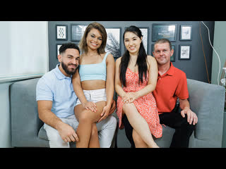 Mina Moon, Destiny Cruz - Secret Underwear Exchange (Foursome, Teen,, Asian, Blowjob, Brunette, Doggystyle, StepDad)