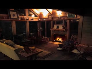 Cozy Cabin in Winter Storm - Cabin Fireplace Burning in Blizzard Snow Storm for Sleep, Relax