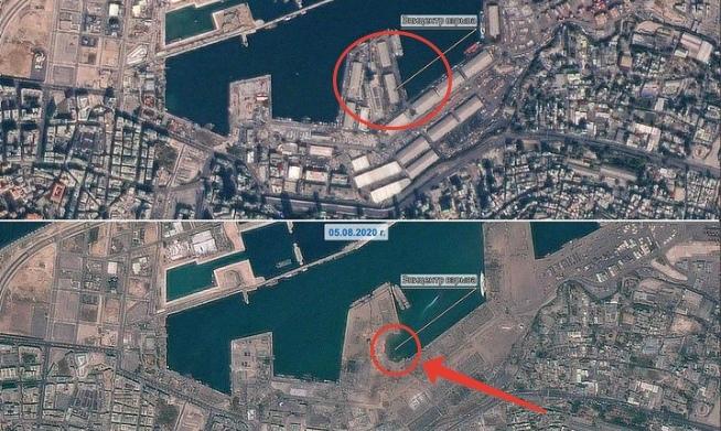 Снимки Бейрута до и после взрыва.