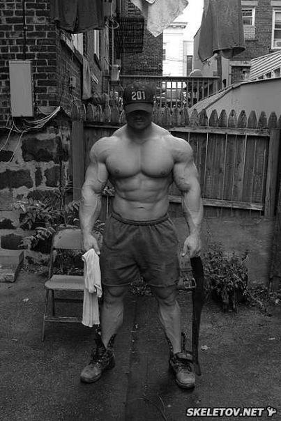 Naked pro male bodybuilder
