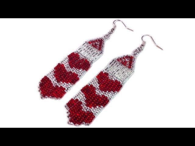 Tutorial: How to make beaded long heart earrings / Серьги из бисера с сердечками мастер-класс
