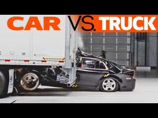 Аварии на скорости 35mpH (или 56,31км/ч): автомобиль и грузовик - трейлер, тестирования противоподкатных брусом или защитные брусья в задней части у фур. Краш-тесты (Crash-tests) автомобилей.
