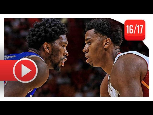 Joel Embiid vs Hassan Whiteside BIG MEN Duel Highlights (2016.10.21) 76ers vs Heat - SICK!