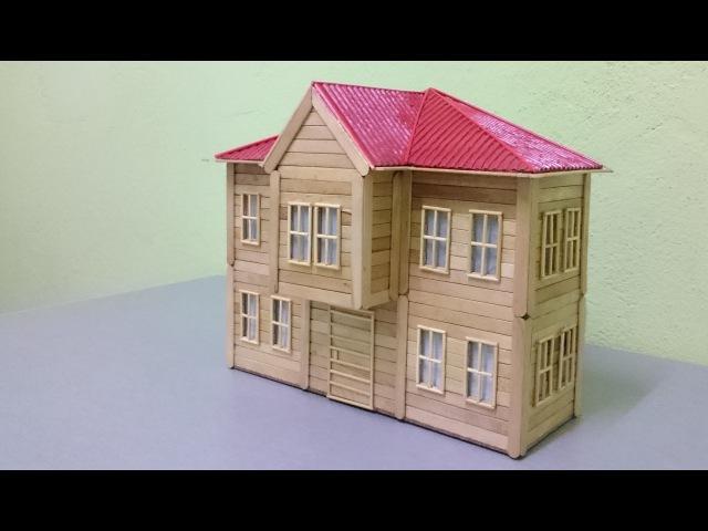 Maket Ev yapımı Cumbalı evler- Dondurma çubuklarından Nasıl Yapılır