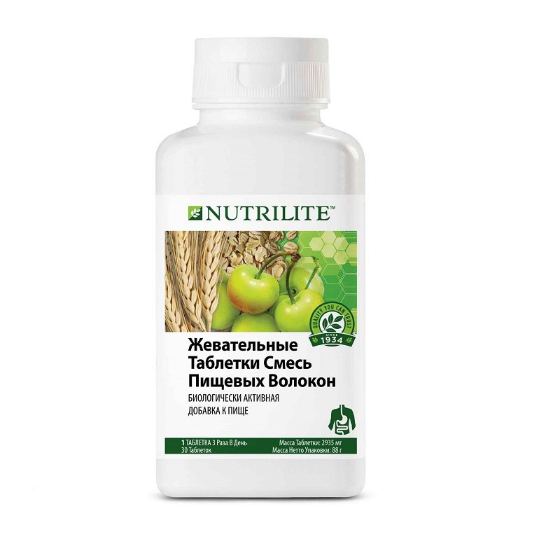 Амвей Таблетки Похудения. NUTRILITE™ Жевательные таблетки смесь пищевых волокон (30 табл)