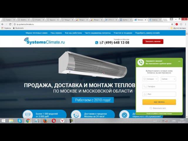 Кейс Лендинг Пейдж Продажа и монтаж тепловых завес Яндекс Директ и Google Ads Лиды 317 руб