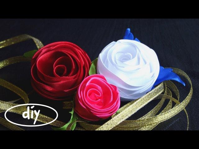 DIY РОЗА КАНЗАШИ, МК / Как сделать бутон розы из цельной атласной ленты VT (English subtitles)