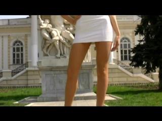 Sexy blonde in white mini dress (1)