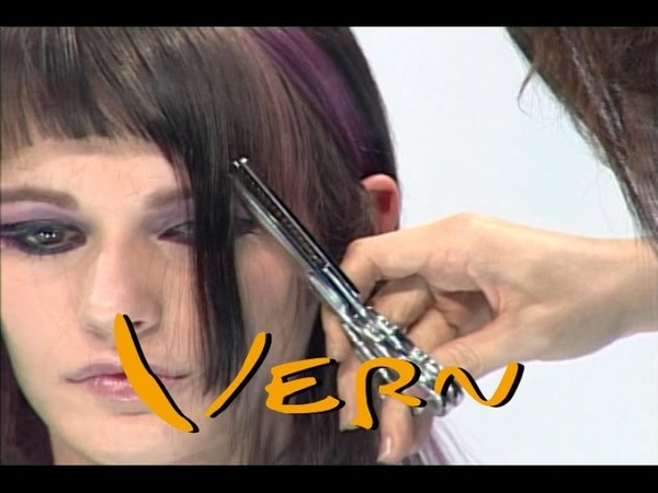 [HairWorld Milano]Contractive short haircuts with long purple highlight Bangs, vern hairstyles 07