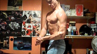Sexy Ripped Muscle Man Stephen Flexing in Skin Tight Shirt, then Jeans and then Glutes