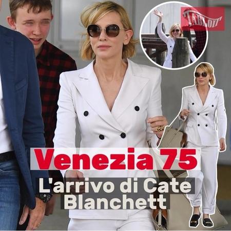 Tabloit on Instagram Venezia 75 ecco l'arrivo di Cate Blanchett l'attrice è sbarcata alla Mostra del Cinema insieme al figlio Dashiell di 16 a