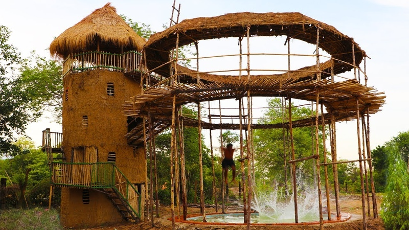 Build five story mud house with swimming pool and build hut around swimming pool full video