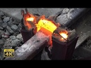 Rails thermite welding Eruptions melt squeezing and grinding 4K