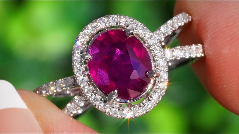 UNHEATED Natural Red Ruby and Diamond Cocktail Engagement Ring 14k White Gold 2.23 tcw HGT Certified