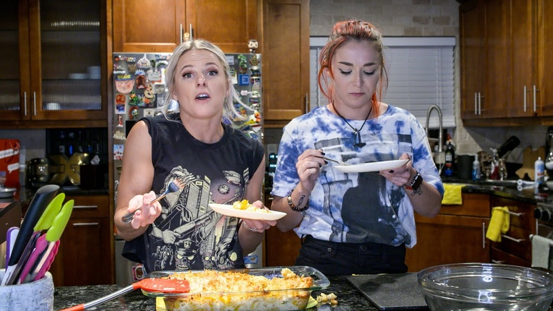 Candice LeRae and Tegan Nox make buffalo chicken mac cheese Superstar Home Cooking