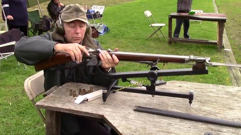 Shooting Austrian rim-fire Wänzl Jägerstutzen with fixed bayonet