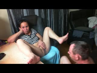 Mature thai sitting on chair getting her pussy