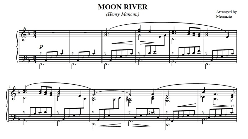 Moon River (Mancini) Arranged for Piano by Mercuzio