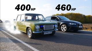 ПСИХ на ТУРБО ШЕСНАРЕ НАКАЗАЛ ВСЕХ!!! ВАЗ-2101 ТУРБО vs AUDI S6 St2 vs 2113 на ДРОССЕЛЯХ vs BMW M4