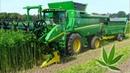 Hemp Harvest HempFlax John Deere T660i Double Cut Combine For CBD oil