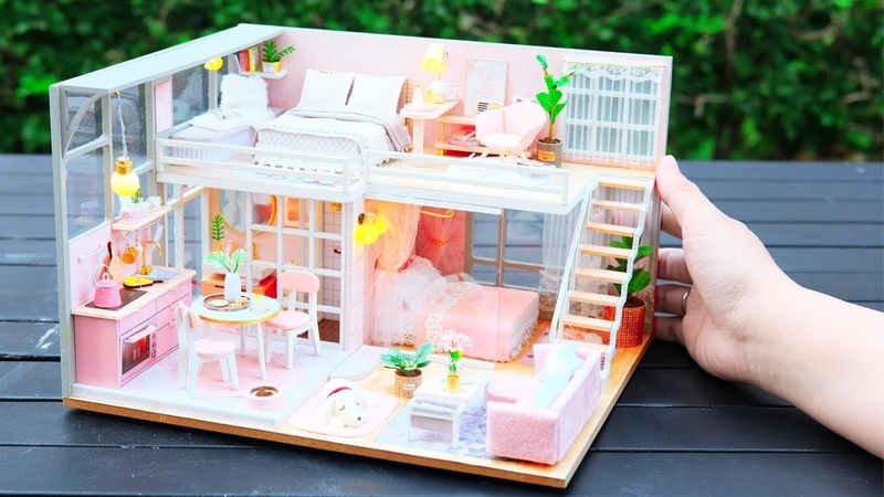DIY Miniature Dollhouse Kit || The Girlish Dream ( With Two Bedroom )