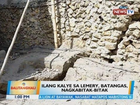 BT: Ilang kalye sa Lemery, Batangas, nagkabitak-bitak