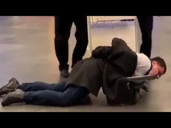 Полицейские прокатили на тележки пьяного чиновника Ростехнадзора в аэропорту Внуково