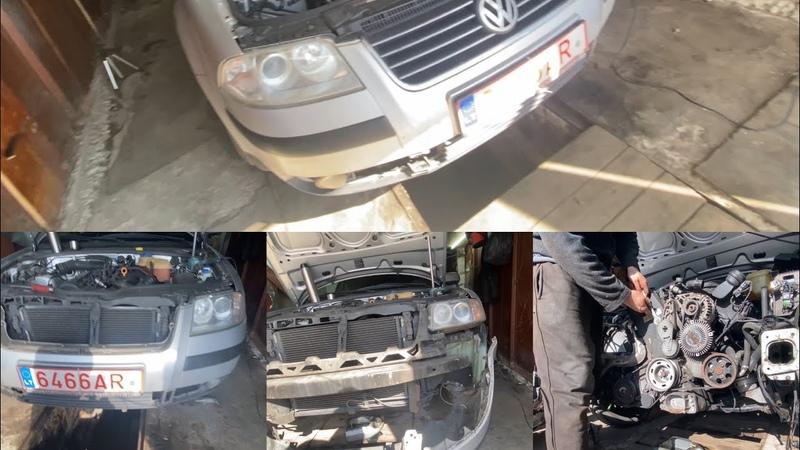 КАК снять передний бампер телевизор с радиаторами VW Passat B5. СЕРВИСНОЕ ПОЛОЖЕНИЕ