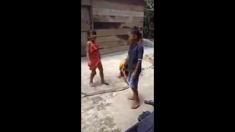 Children playing jump rope with a dead snake