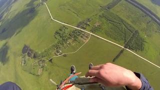 Прыжок с парашютом первый раз, вид от первого лица. Parachute jump first one