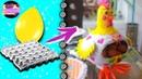 Gallina guarda o porta huevos con un globo y masa con cartón de huevo | Epdlm